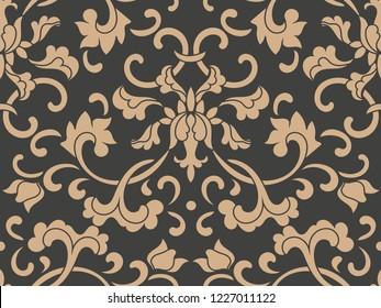 Vector damask seamless retro pattern background botanic garden spiral curve cross leaf frame vine flower. Elegant luxury brown tone design for wallpapers, backdrops and page fill.