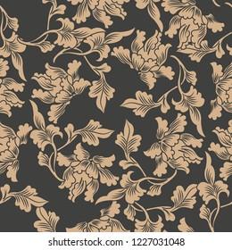 Vector damask seamless retro pattern background oriental spiral curve cross botanic garden leaf vine frame. Elegant luxury brown tone design for wallpapers, backdrops and page fill.