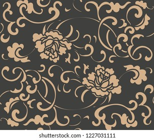 Vector damask seamless retro pattern background spiral curve cross flower peony leaf frame vine wreath. Elegant luxury brown tone design for wallpapers, backdrops and page fill.