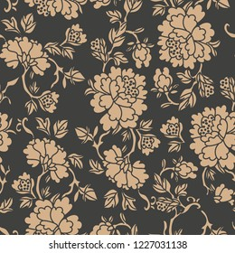 Vector damask seamless retro pattern background spiral curve cross leaf frame vine flower peony. Elegant luxury brown tone design for wallpapers, backdrops and page fill.