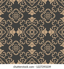 Vector damask seamless retro pattern background spiral curve cross oriental frame chain vine flower. Elegant luxury brown tone design for wallpapers, backdrops and page fill.