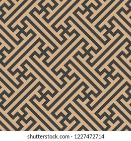 Vector damask seamless retro pattern background oriental spiral poygon geometry cross lattice tracery frame chain. Elegant luxury brown tone design for wallpapers, backdrops and page fill.