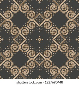 Vector damask seamless retro pattern background spiral round vortex cross frame vine halftone kaleidoscope. Elegant luxury brown tone design for wallpapers, backdrops and page fill.