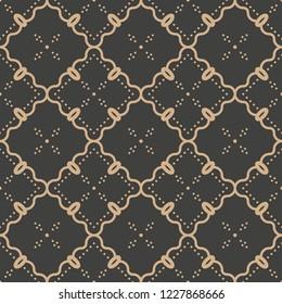 Vector damask seamless retro pattern background botanic garden plant frame vine flower cross. Elegant luxury brown tone design for wallpapers, backdrops and page fill.