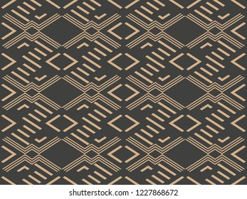 Vector damask seamless retro pattern background check geometry cross frame line. Elegant luxury brown tone design for wallpapers, backdrops and page fill.