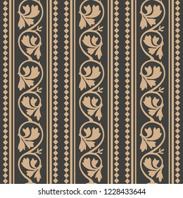 Vector damask seamless retro pattern background round spiral curve cross leaf vine geometry check frame line. Elegant luxury brown tone design for wallpapers, backdrops and page fill.