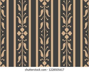 Vector damask seamless retro pattern background curve cross leaf flower vine border frame line. Elegant luxury brown tone design for wallpapers, backdrops and page fill.