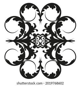 Vector damask vintage baroque scroll ornament swirl. Victorian monogram heraldic shield swirl.Retro floral leaf pattern border foliage antique  acanthus calligraphy engraved tattoo. Tile decor element
