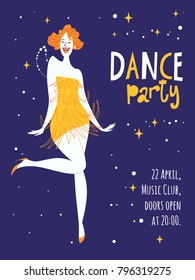 Vector dance party posters. With cute dancing girl. Charleston dance party.