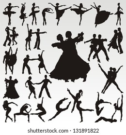Vector dance people silhouettes
