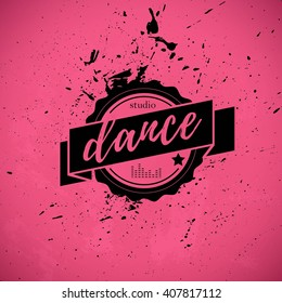Vector dance studio logo isolated. Modern dance club, dance floor icon, label, brand mark. Modern, ballet dance. Dance school insignia.