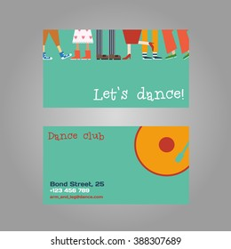 Vector dancing concept business card. Feet different couples, men and women dance modern and classical compositions
