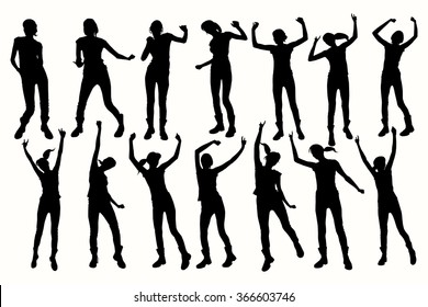 Vector Dancing Girl Silhouettes. Collection dancing silhouettes.