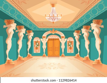Vector dancing hall with atlas pillars. Interior of ballroom with titan, atlant columns for dancing, presentation or royal reception. Big room with chandelier in luxury medieval palace.