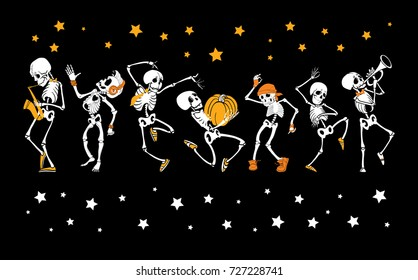 Vector dancing and musical skeletons Haloween set collection. Great for spooky fun party themed designs, gifts, packaging.