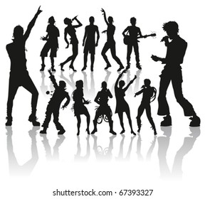 vector dancing and singing peoples silhouette new set