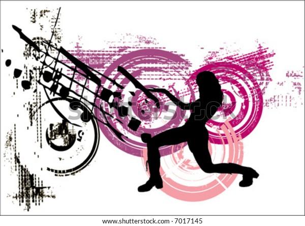 vector dancing woman