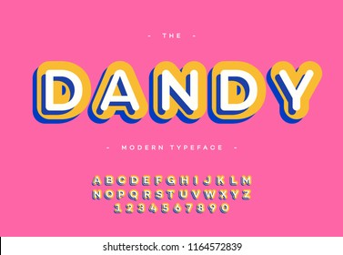 Vector dandy font 3d bold typography sans serif colorful style for poster, decoration, promotion, book, t shirt, sale banner, printing on fabric. Cool modern alphabet. Trendy typeface. 10 eps