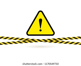 Vector Danger Sign Triangle with Exclamation Point and Barricade Crossed Tapes Isolated on White Background, Yellow and Black Illustration.