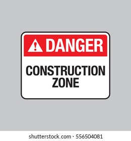 A vector danger sign warning you that the area is under construction. This simple sign is used to enforce health and safety standards.