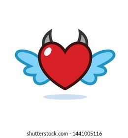 Vector dangerous love flying heart with wings and horns concept. Flat illustration of relationship and love. Romantic love isolated. Valentine day symbol. Love icon.