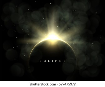 Vector dark abstract background with a solar eclipse. Black open space with a star shining from behind a planet, igniting its horizon. Round black placeholder for your text.