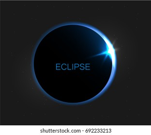 Vector dark abstract background with a solar eclipse. Eclipse of the sun vector