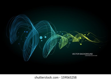 Vector dark abstract dynamic wave background