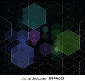 Vector dark background with hexagons