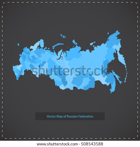 Vector dark background illustration of Russian federation.