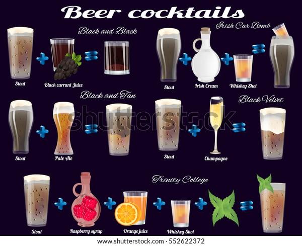 Vector Dark Beer Cocktails Recipes Stock Vector Royalty