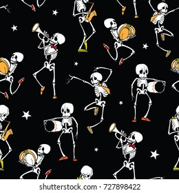 Vector dark black dancing and playing music skeletons band Haloween repeat pattern background. Great for spooky fun party themed fabric, gifts, giftwrap.