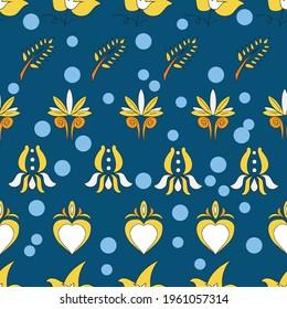 Vector dark blue background Brittany celtic, Breton trational folklore symbols seamless pattern. Seamless pattern background