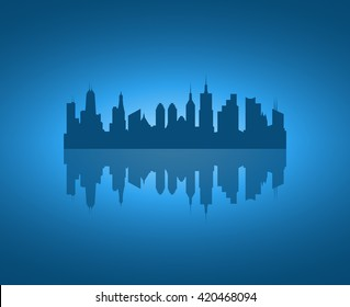 Vector dark blue city icon. Architectural concept. Abstract horizontal panorama. cityscape background. City skyline silhouette isolated on blue bakground with reflection. 10 EPS vector file