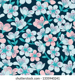 Vector dark blue cyan background with light blue and light red cherry blossom sakura flowers seamless pattern background. Surface pattern design.