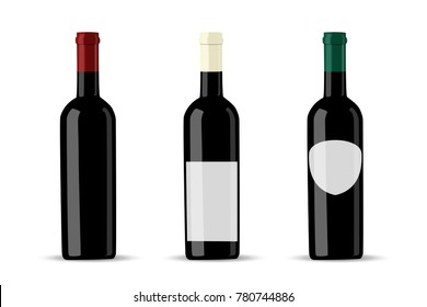 Vector dark bottle set template. Empty label for packaging design.