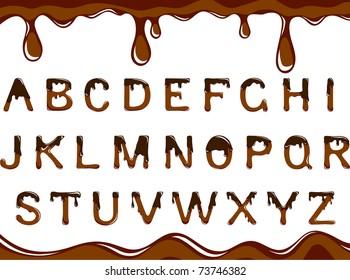 Vector dark chocolate alphabet on a white background