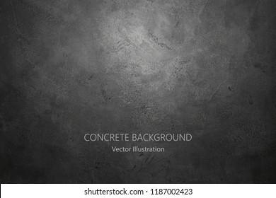 Vector dark concrete texture. Stone wall background.