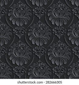 Vector dark damask seamless pattern background. Elegant luxury texture for wallpapers, backgrounds and page fill. 3D elements with shadows and highlights. Paper cut.