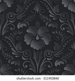 Vector dark damask seamless pattern element. Elegant luxury texture for wallpapers, backgrounds and page fill. 3D elements with shadows and highlights. Paper cut.
