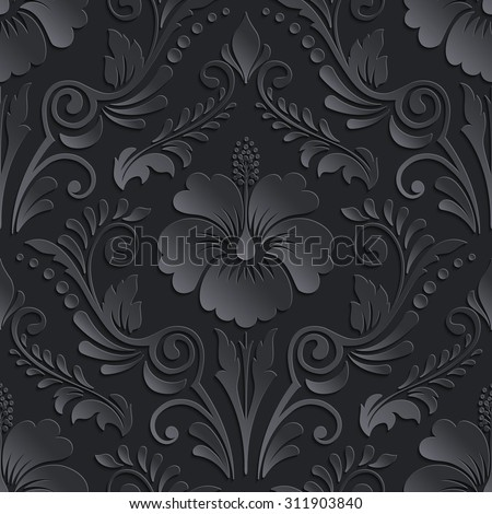 Vector dark damask seamless pattern element. Elegant luxury texture for wallpapers, backgrounds and page
