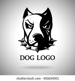 Vector dark dog head in spiked collar, template for logo, badge, label etc