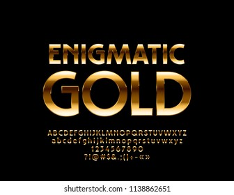 Vector dark Enigmatic Gold Font. Luxury rich metal Alphabet Letters, Numbers and Symbols