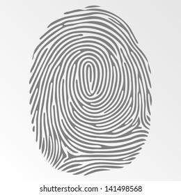 Vector dark fingerprint on gray background