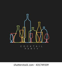 Vector dark fresh Cocktail party invitation card with glasses and bottles made by thin line