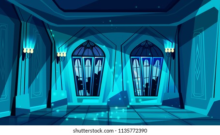Vector dark gothic castle ballroom with stained-glass window. Hall for dancing, presentation or royal reception. Big room with lamps at night, columns in luxury medieval palace. Game background