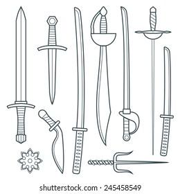 vector dark gray outline cold steel arms medieval weapons set with sword falchion glaive steel dagger dirk whiner saber saber sword katana bokken trident sai shrunken star