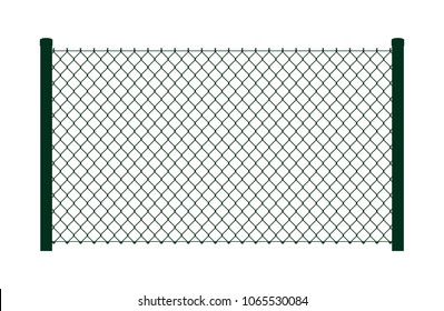 Vector dark green fence. On white background