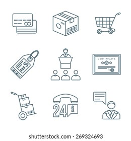 vector dark grey outline business distribution marketing process icons set white background