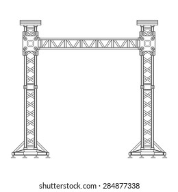 vector dark grey outline stage sound lighting aluminum truss tower lift construction illustration